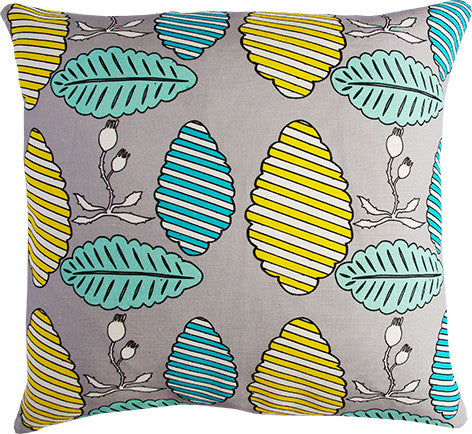 Falling Leaves grey and mint cushion cover