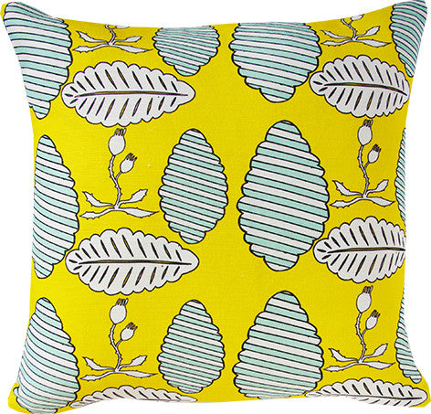 Falling Leaves cushion cover in yellow