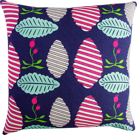 Falling Leaves midnight and berry cushion cover