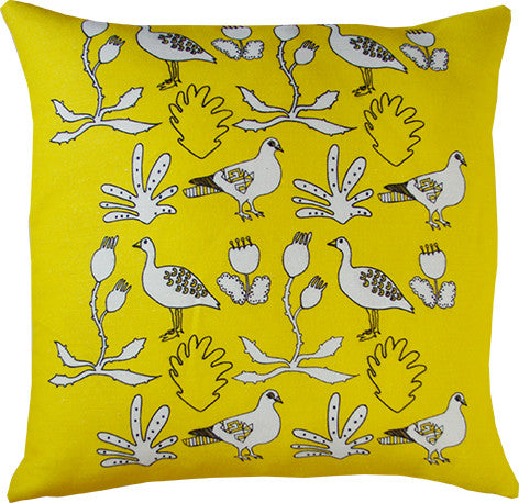 Urban forest cushion cover in yellow