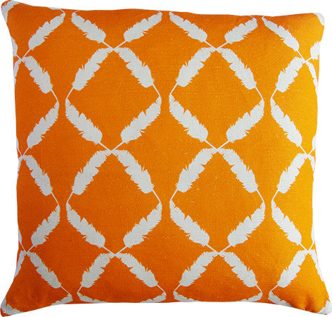Feather Trellis tangerine cushion cover