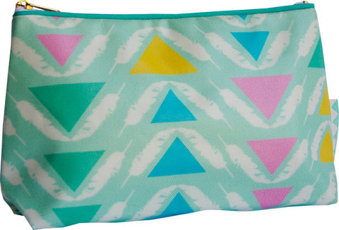 Feather Triangles make-up bag