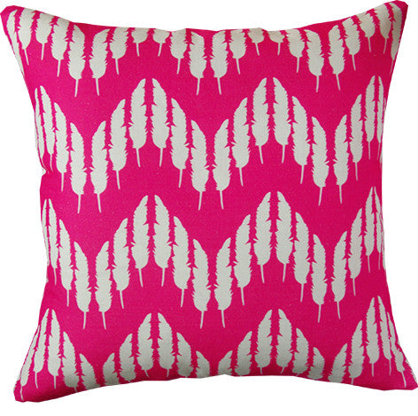 Feather Zig Zag cushion cover in hot pink
