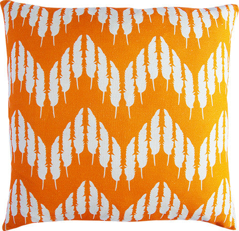 Feather Zig Zag Cushion in tangerine