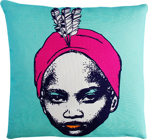 Goddess mint and hot pink cushion cover
