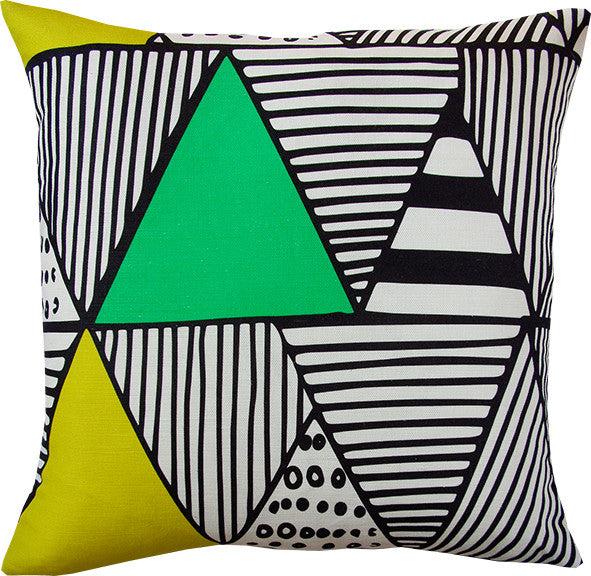 Wigwam cushion cover in lime and black