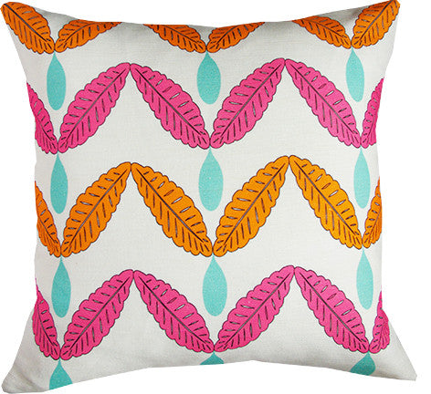 Rain Catcher cushion cover in orange and hot pink