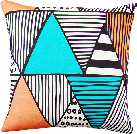 Wigwam cushion cover in black and teal