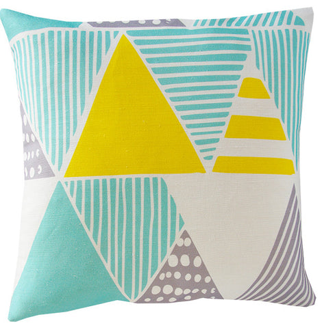 Wigwam cushion cover in mint and yellow