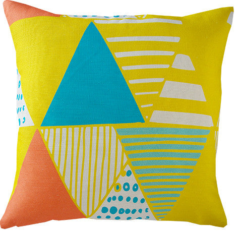Wigwam cushion cover in yellow and teal