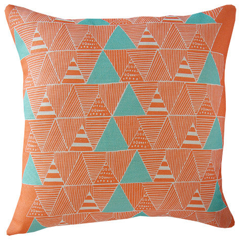 Zulu Huts cushion cover in coral