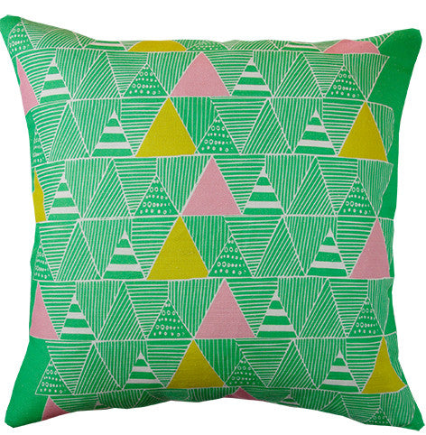 Zulu Huts cushion cover in emerald and pastel pink
