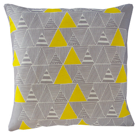Zulu Huts cushion cover in taupe and yellow