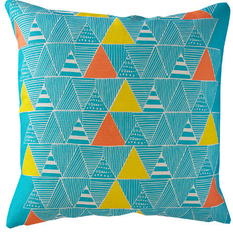 Zulu Huts cushion cover in turquoise