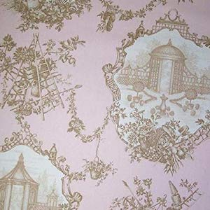 3.25 yards of Braemore Topiary Garden Toile Pink Fabric, Upholstery, Drapery, Home Accent, Savvy Swatch,  Savvy Swatch