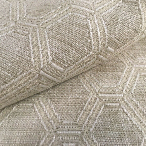 5.9 Yards Danby Cream Geometric Trellis Fabric, Upholstery, Drapery, Home Accent, Tempo,  Savvy Swatch