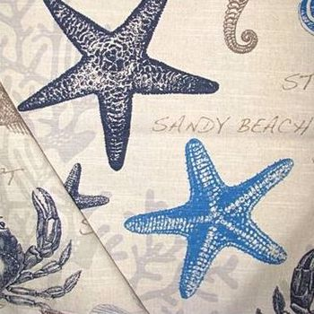 Carolina Indigo Seaside Print Fabric, Upholstery, Drapery, Home Accent, Reel Time Textiles,  Savvy Swatch