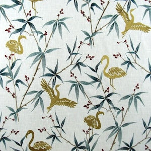 Flow of the Wind Goldenrod Embroidery Flamingo Fabric by TFA, Upholstery, Drapery, Home Accent, TFA,  Savvy Swatch