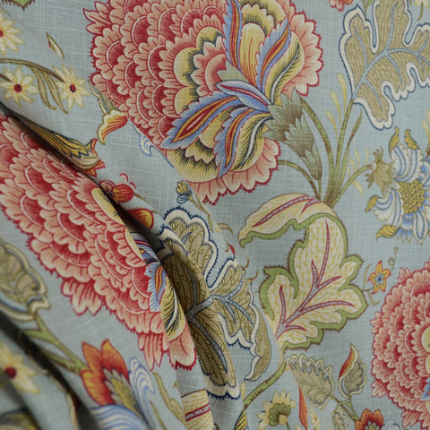 Meadowlark Surf Blue Decorator Fabric Jacobean Floral, Upholstery, Drapery, Home Accent, Tempo,  Savvy Swatch