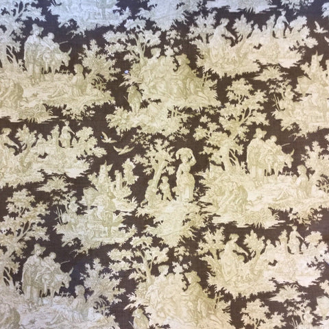 Waverly Rustic Life Toile Brown Decorator Fabric, Upholstery, Drapery, Home Accent, Waverly,  Savvy Swatch