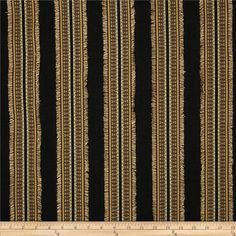 Ribbon Embellished Striped (Black) Decorator Fabric by Richloom, Upholstery, Drapery, Home Accent, Richloom,  Savvy Swatch
