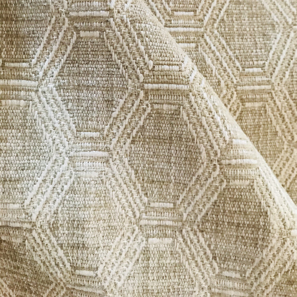 8.2 Yards C&F Danby Beige Geometric Trellis Fabric