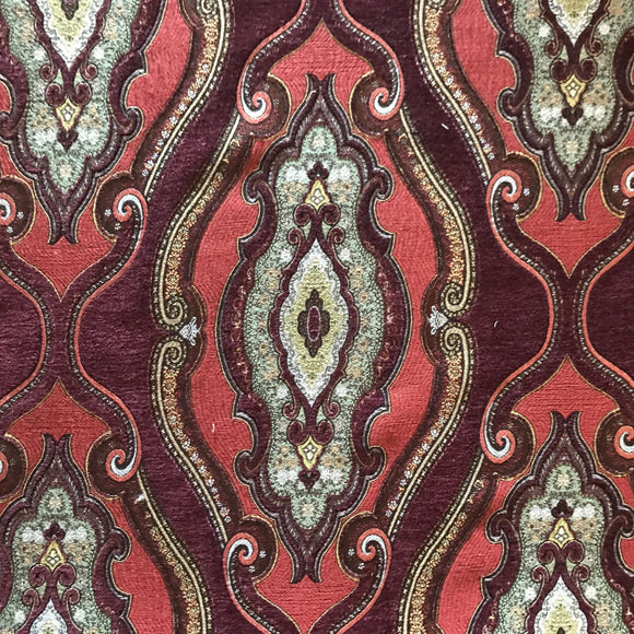 Kachmet Red Chenille Tapestry Fabric