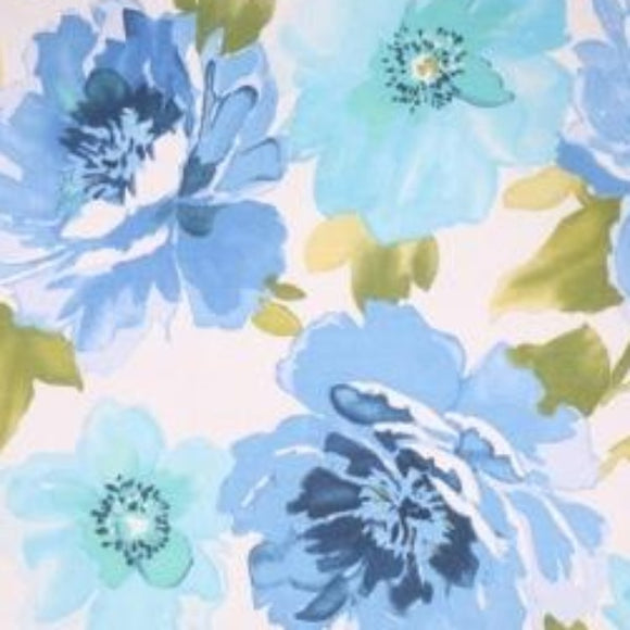 Macilent Printed Cotton Azure Decorator Fabric, Upholstery, Drapery, Home Accent, Richloom,  Savvy Swatch