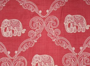 Memorable Elephant in Strawberry Embroidered Decorator Fabric by Mill Creek, Upholstery, Drapery, Home Accent, Swavelle Millcreek,  Savvy Swatch
