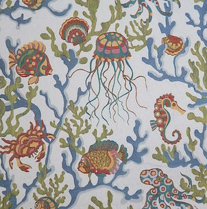Crab Walk Aqua Decorator Fabric by Swavelle Mill Creek, Upholstery, Drapery, Home Accent, Swavelle Millcreek,  Savvy Swatch