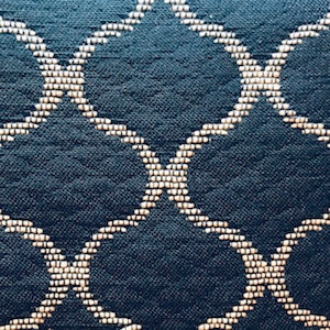 Oakley Navy Geometric Quilted Look Woven Upholstery Fabric