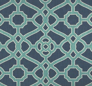 1 Yard Piece of P. Kaufman 0352848 Pavilion Fretwork Indigo Fabric