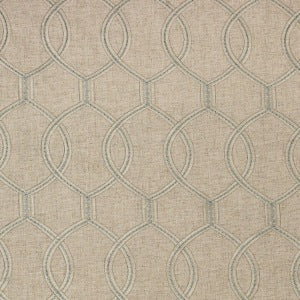 Richloom Slalom Embroidered Polyester Linen Fabric in Mineral, Upholstery, Drapery, Home Accent, Richloom 2,  Savvy Swatch