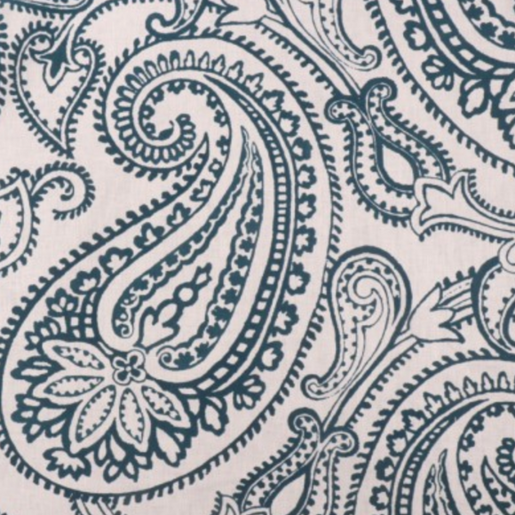 Groundworks GWF-2913.13.0 Paisley Flock Flocked Fabric in Navy Blue