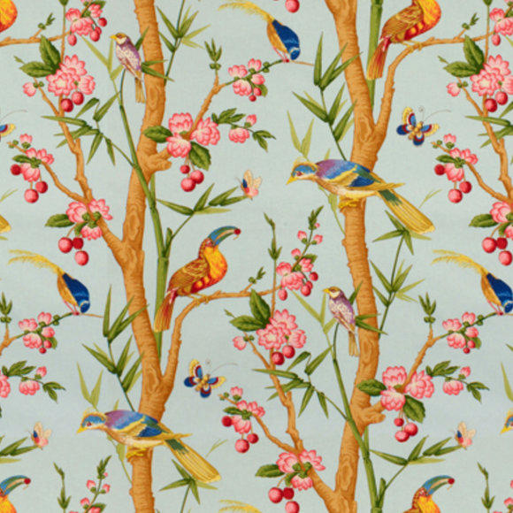 3.25 Yards of BR-71622 - 02 Brunschwig and Fils Toucans Bleu Fabric