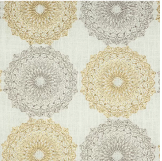 Kittery Fabric Embroidered Pearl Decorator Fabric (Greenhouse A1833), Upholstery, Drapery, Home Accent, Greenhouse,  Savvy Swatch