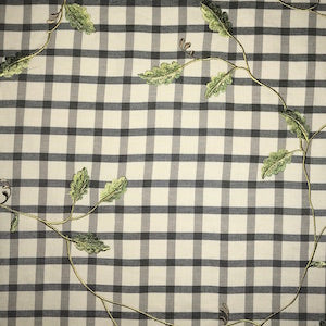 Charcoal Vine Embroidered Gingham Fabric, Upholstery, Drapery, Home Accent, Premier Textiles,  Savvy Swatch