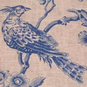 Golding Avalon Printed Linen Blend Drapery Fabric in French Blue 9.9 yards, Upholstery, Drapery, Home Accent, Golding,  Savvy Swatch