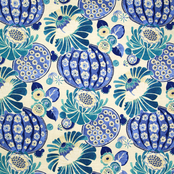 Waverly P K Lifestyles Copacabana Azure Floral Fabric, Drapery, Home Accent, Light Upholstery, Waverly,  Savvy Swatch