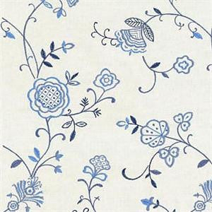 Stacy Lyn Embroidered Cotton Decorator Fabric in Bluebell Bay Club Porcelain, Upholstery, Drapery, Home Accent, Greenhouse,  Savvy Swatch
