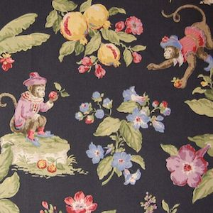 9.8 Yards of P Kaufmann Cheeky Monkey Ebony Fabric, Upholstery, Drapery, Home Accent, Savvy Swatch,  Savvy Swatch