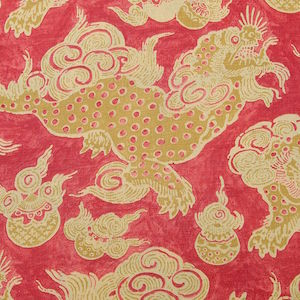 Williamsburg Dunmore Dragons Cinnabar Asian Oriental Foo Dog Fabric, Upholstery, Drapery, Home Accent, Carolina Decorative Fabrics,  Savvy Swatch