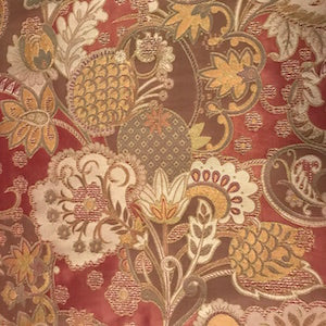 G474 Spice Floral Silk Fabric, Drapery, Home Accent, Light Upholstery, TNT,  Savvy Swatch
