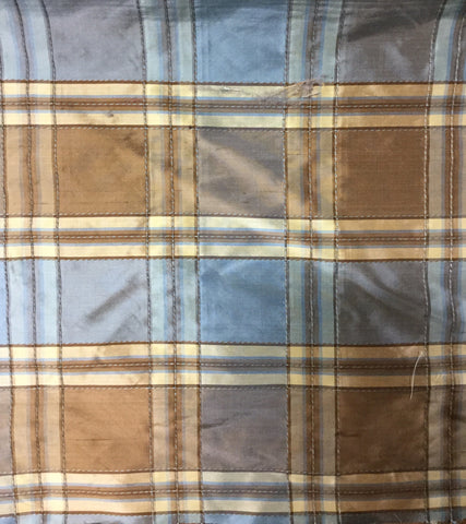 Silk Craft Alem Ocean Plaid Silk Decorator Fabric, Upholstery, Drapery, Home Accent, Silk Crafts,  Savvy Swatch