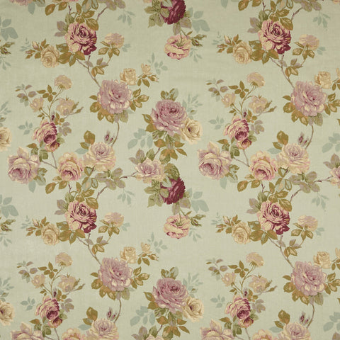 English Rose in Linen Wash Old Blue Decorator Fabric by Edinburgh Weavers, Drapery, Home Accent, Light Upholstery, Edinburgh Weavers,  Savvy Swatch