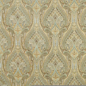 Waverly Karaj Paisley Mineral Fabric, Upholstery, Drapery, Home Accent, P/K Lifestyles,  Savvy Swatch