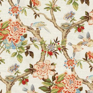 Waverly Mudan Persimmon Decorator Fabric, Upholstery, Drapery, Home Accent, PK Lifestyles,  Savvy Swatch