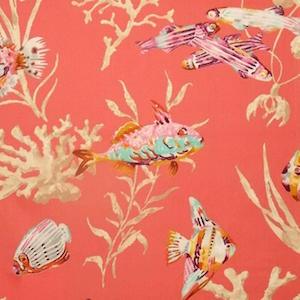 P Kaufmann Fishermans Find Red Snapper Cotton Prints Fabric, Upholstery, Drapery, Home Accent, Carolina Decorative Fabrics,  Savvy Swatch