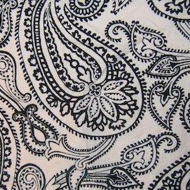 Lee Jofa Paisley Flock Flocked Fabric in Navy Blue