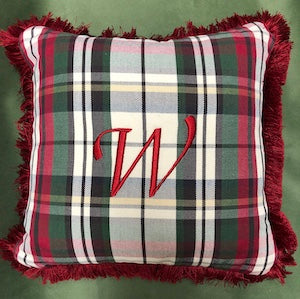 Pottery Barn Denver Plaid Personalized Christmas Pillow